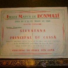 Coleccionismo: PROGRAMA FIESTA MAYOR COLONIA FABRIL DE **BONMATI (GIRONA)** 1956. Lote 32963138