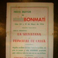 Coleccionismo: PROGRAMA GRANDE FIESTA MAYOR COLONIA FABRIL DE **BONMATI (GIRONA)** 1956. Lote 32963225