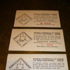 Coleccionismo: TRES BOLETOS SORTEO **SOCIETAT COOPERATIVA DE CONSUM . Lote 32965848