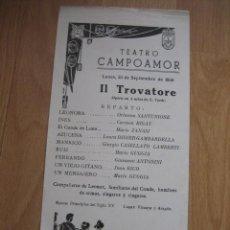 Coleccionismo: PROGRAMA DEL TEATRO CAMPOAMOR OVIEDO LUNES 23-9-1966 II TROVATORE . Lote 32975610