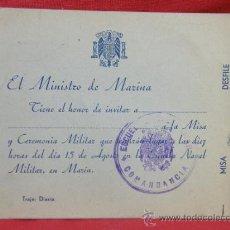 Coleccionismo: INVITACIÓN DEL MINISTRO DE MARINA A CENA EN ESCUELA NAVAL MILITAR AÑOS 40-50 5,3 X 3,7 CM. Lote 32996415