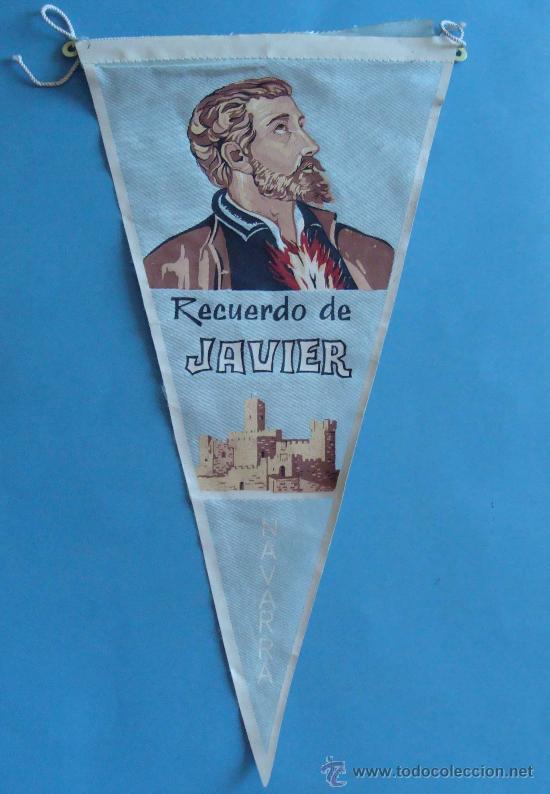 BANDERÍN TURÍSTICO. AÑOS 60 - 70. CASTILLO DE SAN JAVIER, NAVARRA. 28 CM. (Coleccionismo - Varios)