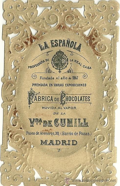 ESTAMPITA PUBLICITARIA FABRICA DE CHOCOLATES LA ESPAÑOLA (Coleccionismo - Laminas, Programas y Otros Documentos)