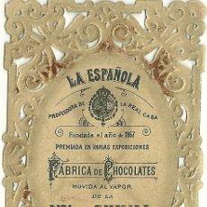 Coleccionismo: ESTAMPITA PUBLICITARIA FABRICA DE CHOCOLATES LA ESPAÑOLA. Lote 33003612