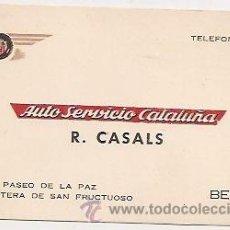 Coleccionismo: BERGA: ANTIGUA TARJETA COMERCIAL DE AUTO SERVICIO CATALUÑA. Lote 33518343