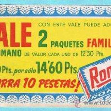 Coleccionismo: VALE POR DOS PAQUETES FAMILIAR. JABON PARA LAVAR ROPA ROMANO. BLANCO DESLUMBRANTE. . Lote 33241300