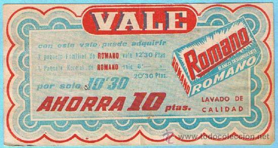 Coleccionismo: VALE DE DESCUENTO POR 10 PTS. JABON PARA LAVAR ROPA ROMANO. BLANCO DESLUMBRANTE. - Foto 2 - 33240980