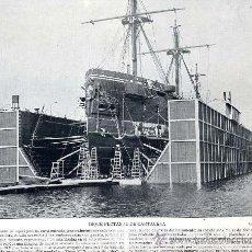 Coleccionismo: CARTAGENA 1895 DIQUE FLOTANTE TAMAÑO IMAGEN 20 X 25 CM. LAMINA HOJA LIBRO. Lote 33444944