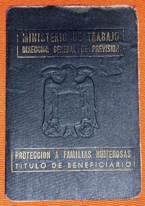 CARNÉ DE FAMILIA NUMEROSA EPOCA DE FRANCO 1955 CON FOTO EN INTERIOR (Coleccionismo - Laminas, Programas y Otros Documentos)