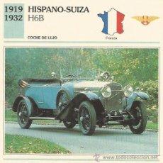 Coleccionismo: *** FT06 - FICHA TECNICA - HISPANO-SUIZA H6B - 1919 / 1932 - COCHE DE LUJO - FRANCIA. Lote 33692781