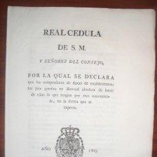Coleccionismo: 1803. REAL CÉDULA. COMPRADORES DE FINCAS DE ESTABLECIMIENTOS PÍOS. SEVILLA.. Lote 33732006