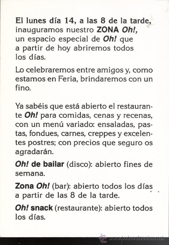 Oh Discoteca Pub Restaurante Tarjeta Invitación Inauguración Zaragoza 15 X10 Cmtrs