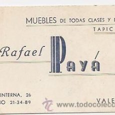 Coleccionismo: TARJETA COMERCIAL DE MUEBLES PAYÁ (VALENCIA). Lote 34606033