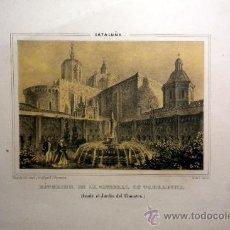 Coleccionismo: LAMINA CATEDRAL DE TARRAGONA POR F.J. PARCERISA LIT. DE J DONON. Lote 34860002
