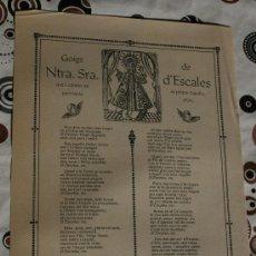 Coleccionismo: GOIGS NTRA. SRA. D'ESCALES . Lote 34863450