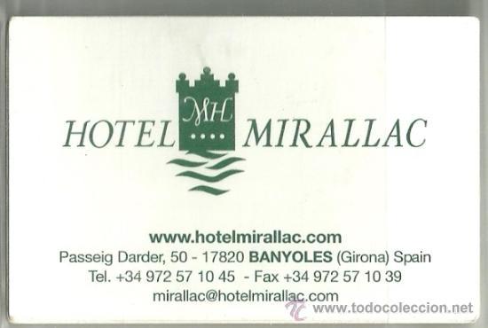 Tarjeta Comercial Hotel Mirallac Banyoles Comprar Documentos