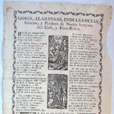 Coleccionismo: ANTIGUOS GOZOS A NUESTRA Sª DEL COLL Y FONT_RUBIA. Lote 35046320