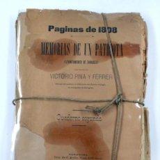 Coleccionismo: MEMORIAS DE UN PATRIOTA, PÁGINAS DE 1808. LEVANTAMIENTO DE ZARAGOZA, VICTORIO PINA. 1889. Lote 35119325