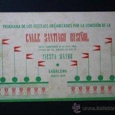 Coleccionismo: PROGRAMA FIESTAS BADALONA AÑO 1949 - FIESTA MAYOR - AGOSTO - CALLE SANTIAGO RUSIÑOL. Lote 35189278