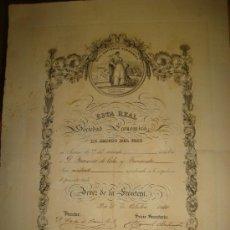 Coleccionismo: DIPLOMA REAL SOCIEDAD ECONÓMICA AMIGOS DEL PAÍS, JEREZ DE LA FRONTERA 1860, REGULAR ESTADO, 35X50CM. Lote 35529221