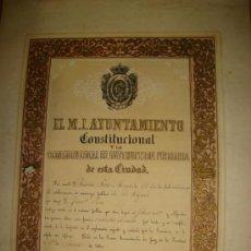 Coleccionismo: JEREZ DE LA FRONTERA, 1860, AYUNTAMIENTO CONSTITUCIONAL INSTRUCCIÓN PÚBLICA, BONITO TÍTULO, 32X45CM. Lote 35529712