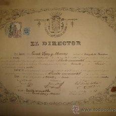 Coleccionismo: TÍTULO DE PERITO MERCANTIL 1874, INSTITUTO PROVINCIAL DE JEREZ, CÁDIZ, , RARO, 46X33CM. Lote 35530301