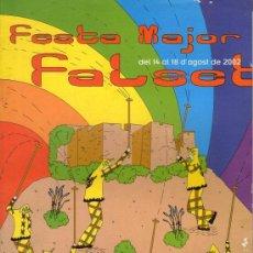 Coleccionismo: FALSET - FESTA MAJOR - ANY 2002. Lote 35616472