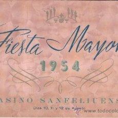 Coleccionismo: PS3372 PROGRAMA DE FIESTAS DEL CASINO SANFELIUENSE (SANT FELIU DE LLOBREGAT) DE 1954. Lote 35669396