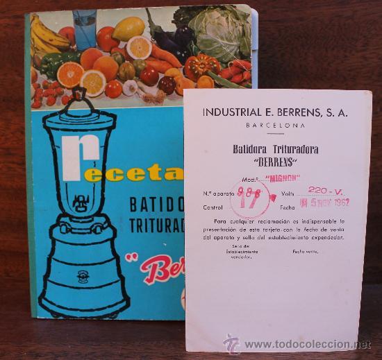 Coleccionismo: ANTIGUO RECETARIO BATIDORA TRITURADORA TURMIX BERRENS 24 EDICION CON CERTIFICADO GARANTIA AÑO 1962 - Foto 4 - 35685044