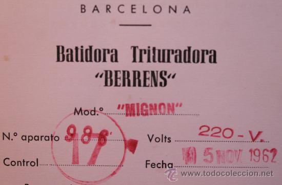 Coleccionismo: ANTIGUO RECETARIO BATIDORA TRITURADORA TURMIX BERRENS 24 EDICION CON CERTIFICADO GARANTIA AÑO 1962 - Foto 5 - 35685044