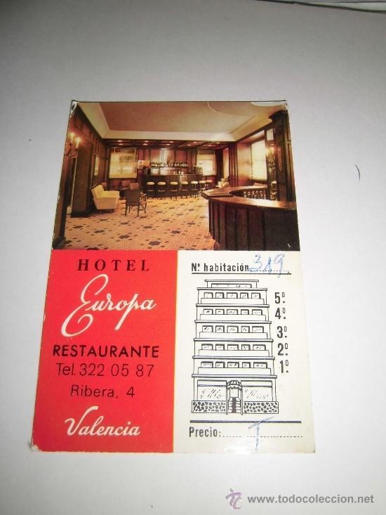 TARJETA PUBLICITARIA HOTEL EUROPA VALENCIA (Coleccionismo - Laminas, Programas y Otros Documentos)