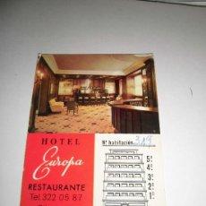 Coleccionismo: TARJETA PUBLICITARIA HOTEL EUROPA VALENCIA . Lote 35938934