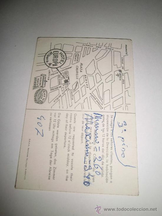 Coleccionismo: TARJETA PUBLICITARIA HOTEL EUROPA VALENCIA - Foto 2 - 35938934