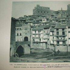 Coleccionismo: VALDERROBRES TERUEL PUENTE IGLESIA Y CASTILLO ANTIGUO HUECOGRABADO AÑOS 30. Lote 35948152