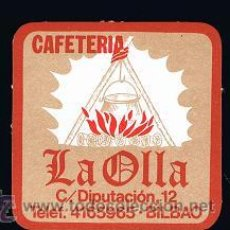 Coleccionismo: POSAVASO CAFETERIA LA OLLA DE BILBAO. Lote 36037950