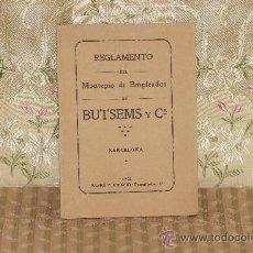 Coleccionismo: 2856- REGLAMENTO DE MONTEPIO DE EMPLEADOS DE BUTSEMS Y CIA. 1913. . Lote 36551270