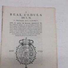 Coleccionismo: IMPRESO CADIZ, S. XVIII (1795), REAL CEDULA DE S.M. FUERO INDIVIDUOS DEL EXERCITO, ESCUDO GRABADO. Lote 36563469