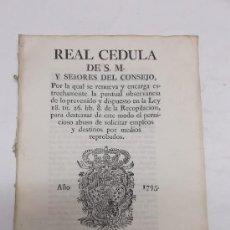 Coleccionismo: IMPRESO EN CADIZ, S.XVIII (1795), REAL CEDULA DE S.M. IMPRENTA PEDRO GOMEZ DE REQUENA ESCUDO GRABADO. Lote 36563575