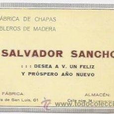Coleccionismo: ANTIGUA TARJETA PUBLICITARIA. VALENCIA. FÁBRICA DE CHAPAS Y TABLEROS DE MADERA. Lote 36662800