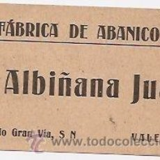 Coleccionismo: VALENCIA. TARJETA COMERCIAL ANTIGUA DE FÁBRICA DE ABANICOS. Lote 194732751