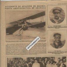 Coleccionismo: RECORTE DE PRENSA AÑOS 30 ACCIDENTE DE AVIACION EN MADRID JOSE CAÑEDO JOSE LECEA GETAFE. Lote 36772693