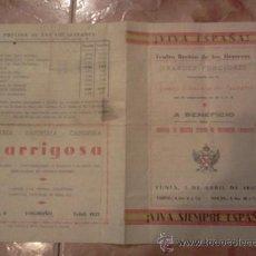 Coleccionismo: CARLISMO: PROGRAMA DE PAN Y TOROS. JUNTA CARLISTA DE GUERRA. LOGROÑO. GUERRA CIVIL. 1937. Lote 42893269