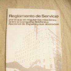 Coleccionismo: REGLAMENTO DE SERVICIO COMPAÑIA TELEFONICA NACIONAL ESPAÑA Y SUS ABONADOS.AÑO 1982.. Lote 37177839