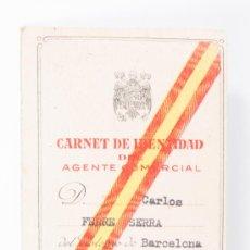 Coleccionismo: CARNET DE IDENTIDAD DE AGENTE COMERCIAL, CARLOS FERRE SERRA , NÚMERO 18.679, , AÑO 1963. Lote 37262861