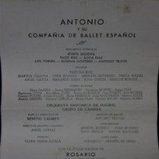 Coleccionismo: PROGRAMA ANTONIO EL BAILARÍN BALLET ESPAÑOL TEMPORADA 1962 TEATRO DE LA ZARZUELA. Lote 37359739
