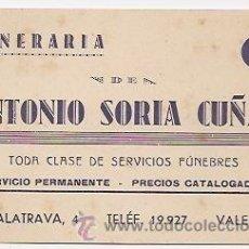 Coleccionismo: TARJETA COMERCIAL DE FUNERARIA. VALENCIA. Lote 37392854
