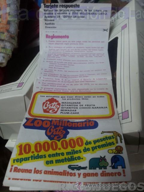 Coleccionismo: Lote de 7 Cupones pastelitos diferentes Ortiz año 72 - 73 para concurso Zoo Millonario - Foto 2 - 37413439