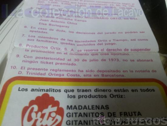 Coleccionismo: Lote de 7 Cupones pastelitos diferentes Ortiz año 72 - 73 para concurso Zoo Millonario - Foto 3 - 37413439