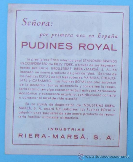 Coleccionismo: PEQUEÑA HOJA VOLANTE PUDINES ROYAL. INDUSTRIAS RIERA MARSÁ, SIN FECHA. - Foto 2 - 37490974