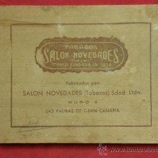Coleccionismo: CAJA MADERA TABACOS SALON NOVEDADES FUNDADA 1898 LAS PALMAS DE GRAN CANARIA. Lote 37778621